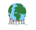 women holding globe