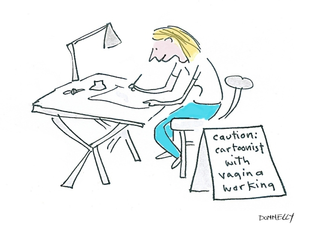 cartoonist w vagina working