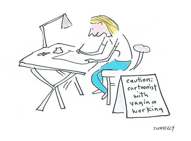 cartoonist w vagina working